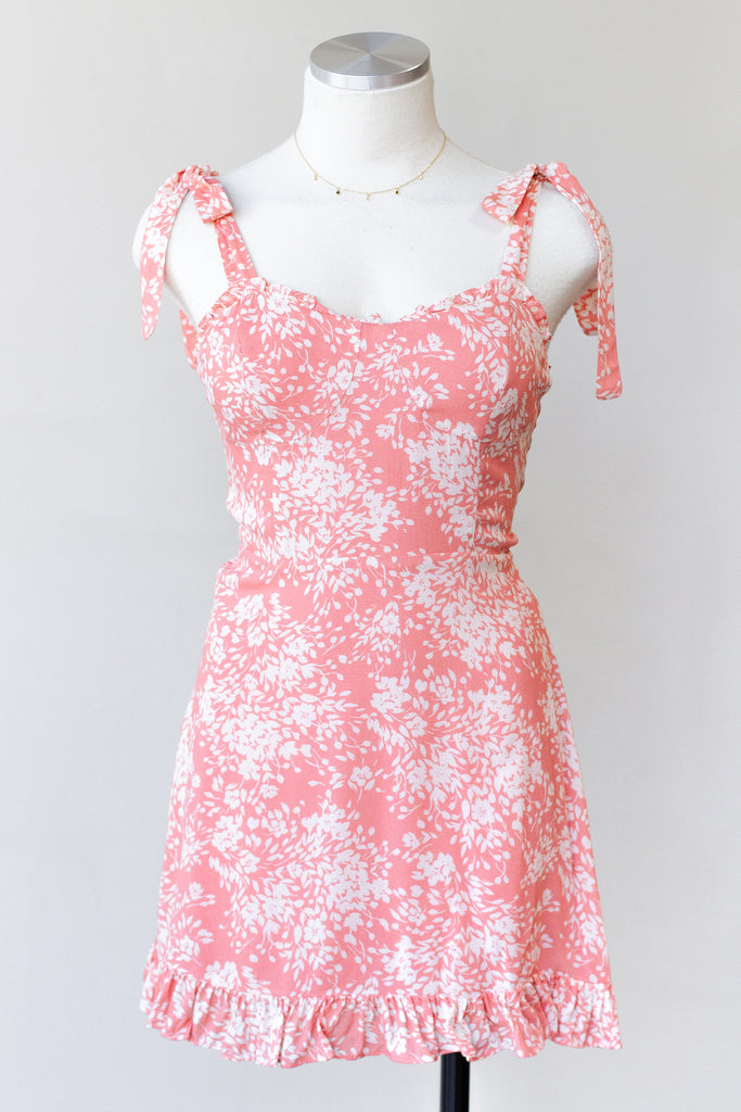 peach floral cami dress
