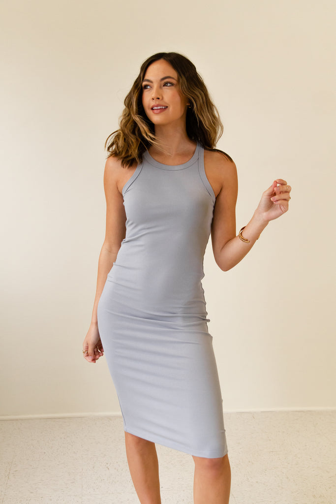 blue ribbed sleeveless bodycon dress