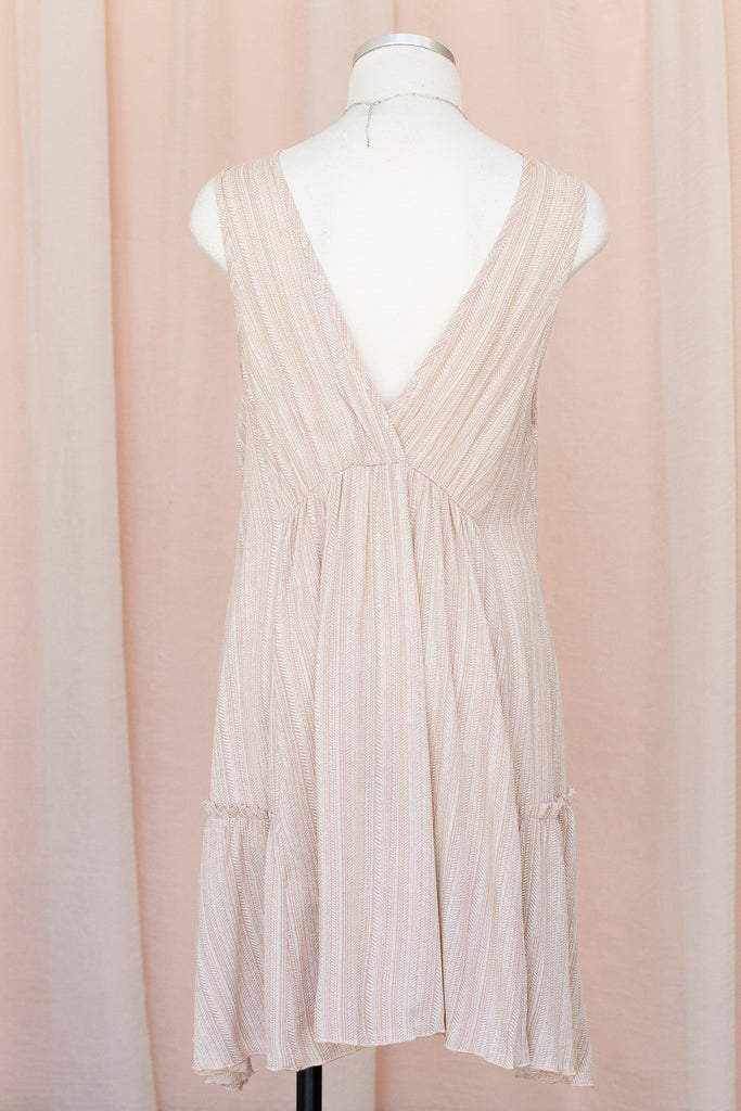 Natural Striped Sleeveless Dress