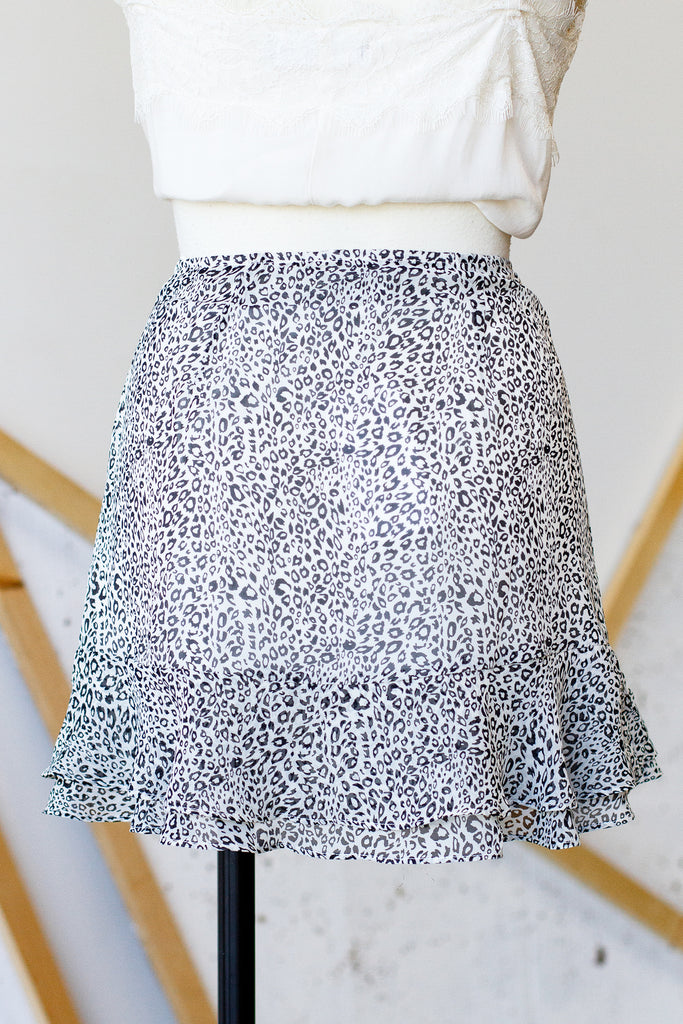 Black/White Animal Print Skirt