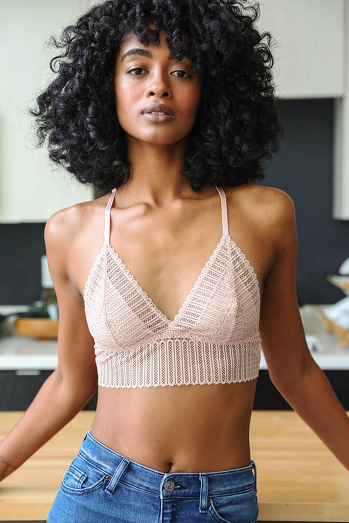 Blush Ribbed Lace Bralette