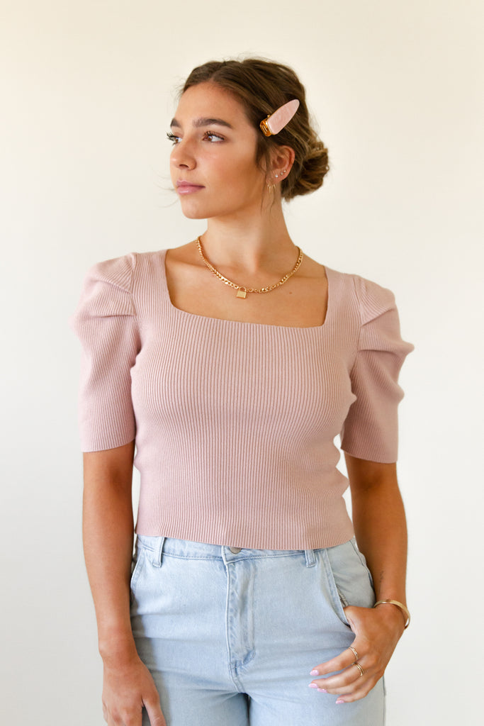 Ready Now Short Puff Sleeve Top by For Good