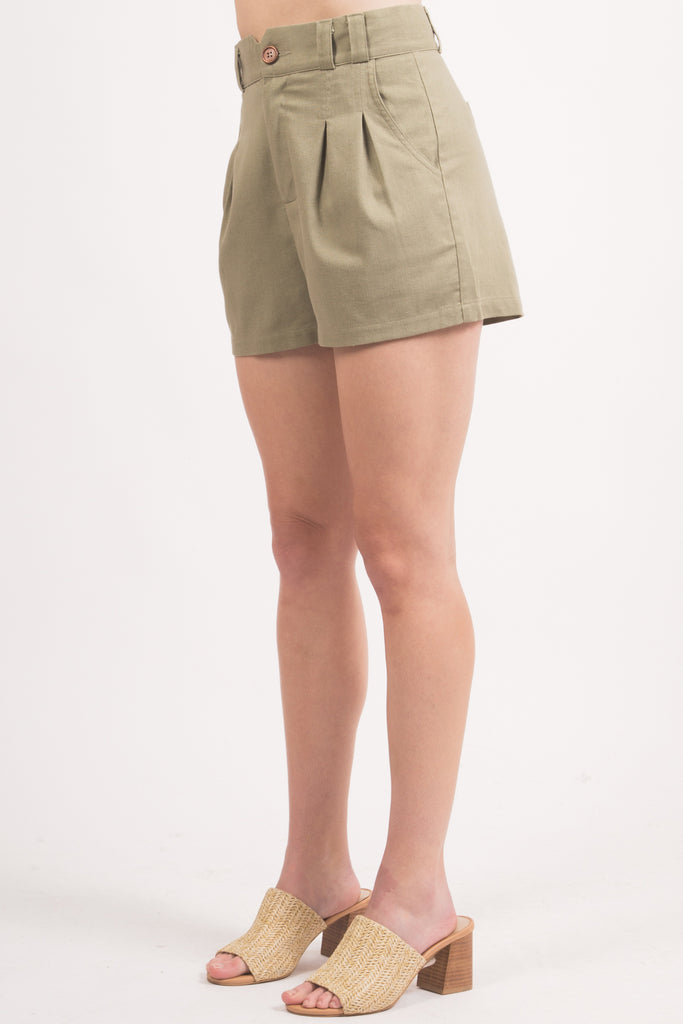 Olive Pleated Shorts