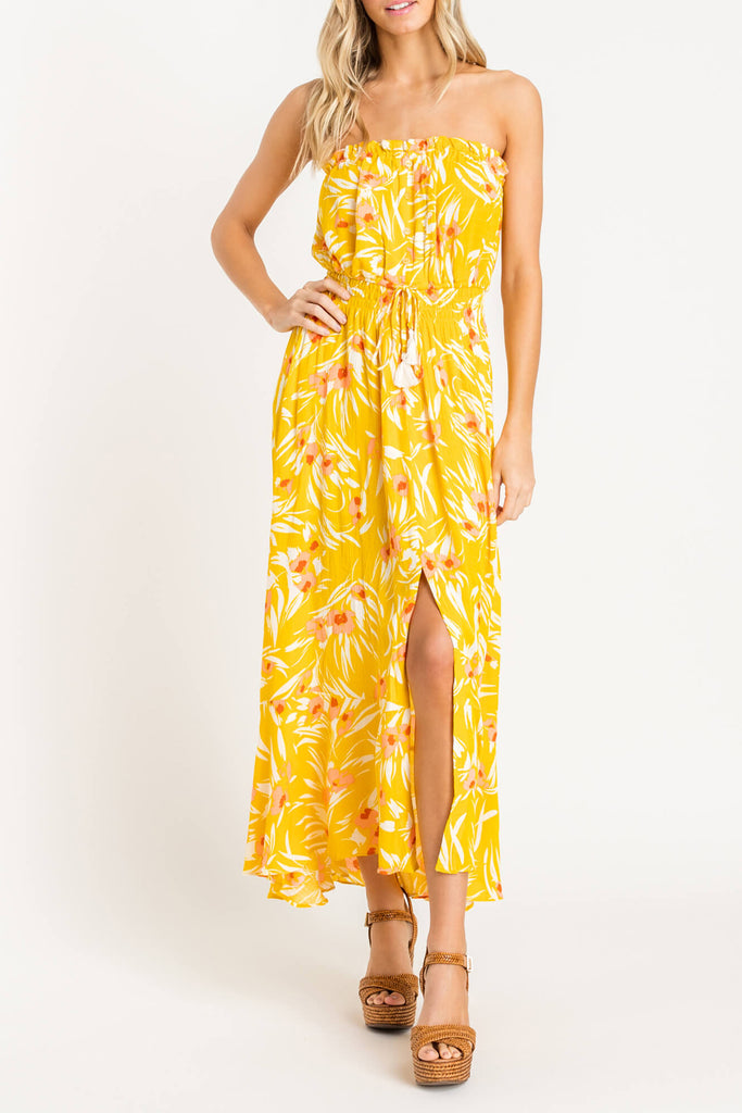 See The Sun Strapless Floral Maxi Dress