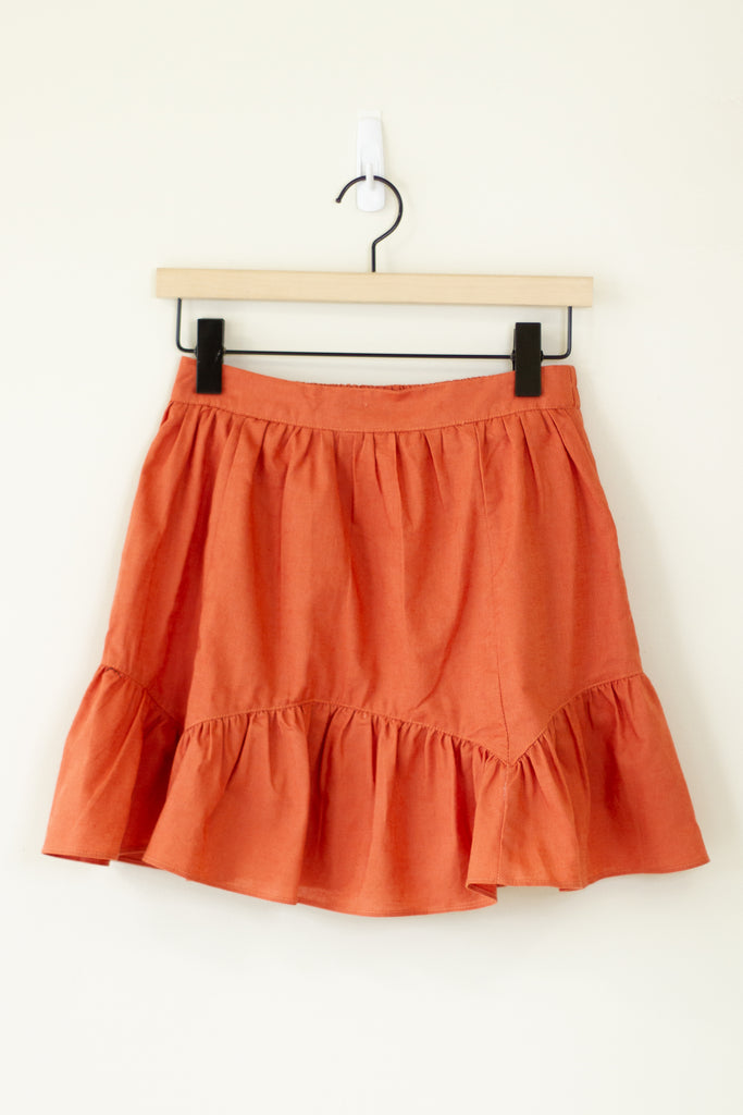 rust mini skirt with flare hem