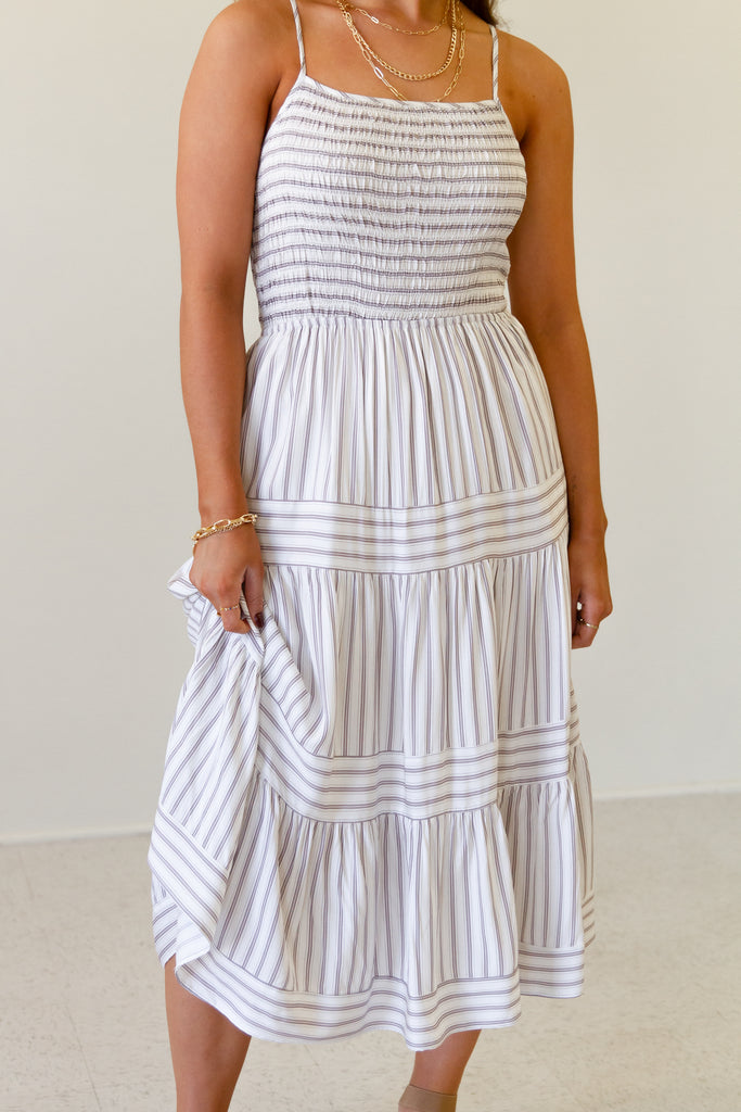 Catching Glances Striped Midi Dress by For Good