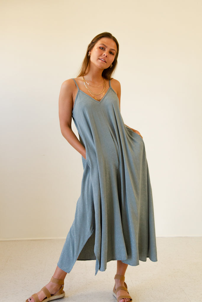 sage cami jumpsuit with side pockets