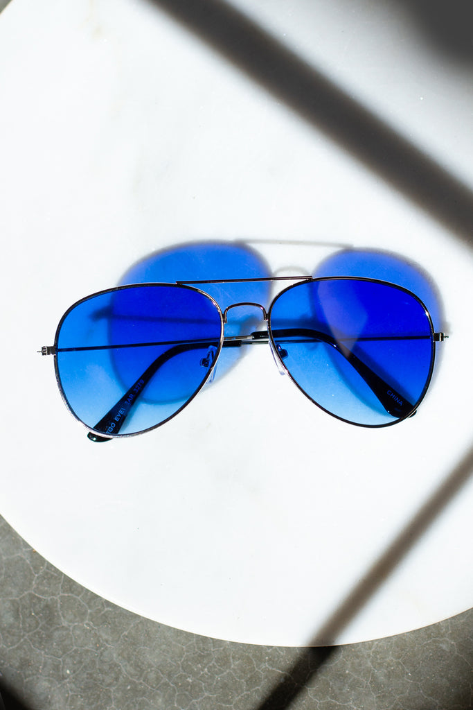 Silver & Blue Aviator Sunglasses