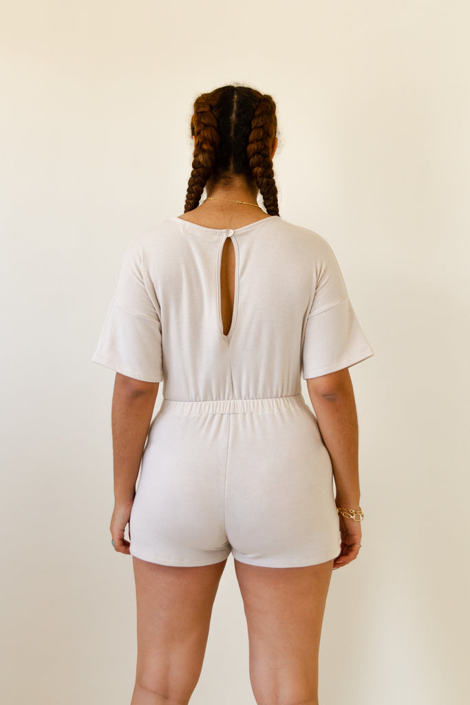 natural short sleeve front cutout romper