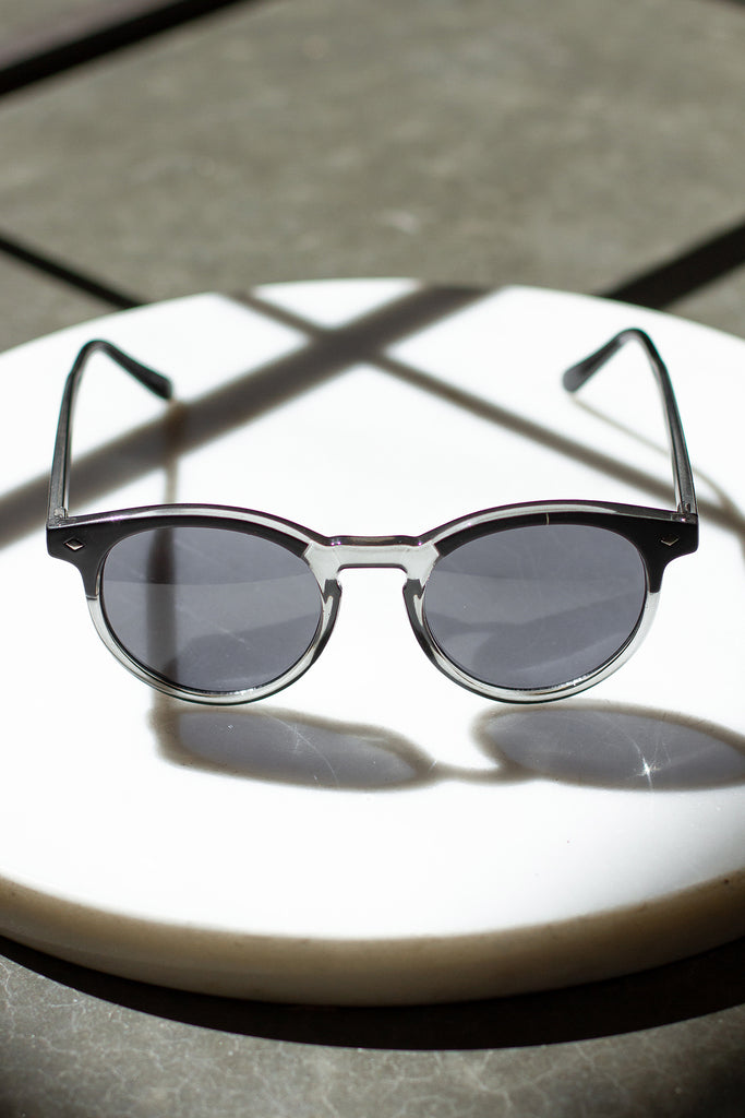 Black/Clear Round Sunglasses