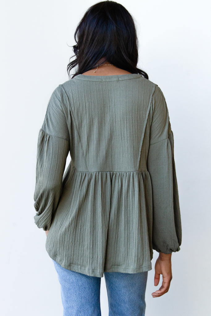 green flowy button front shirt