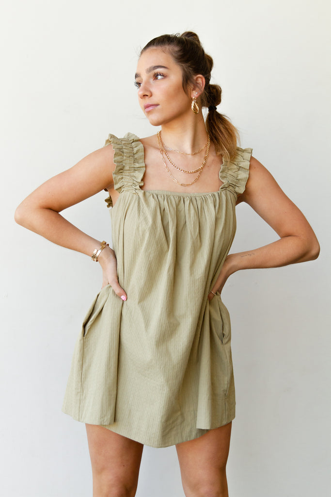 olive sleeveless dress