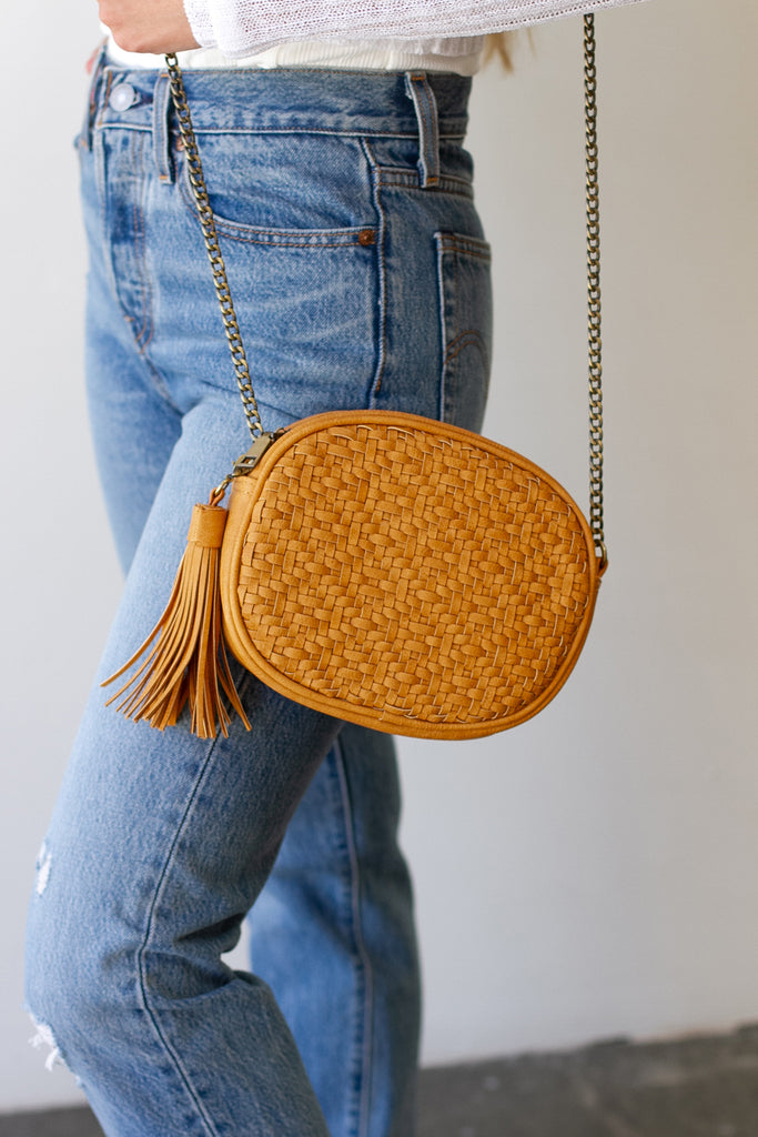 Mustard Woven Faux Leather Purse