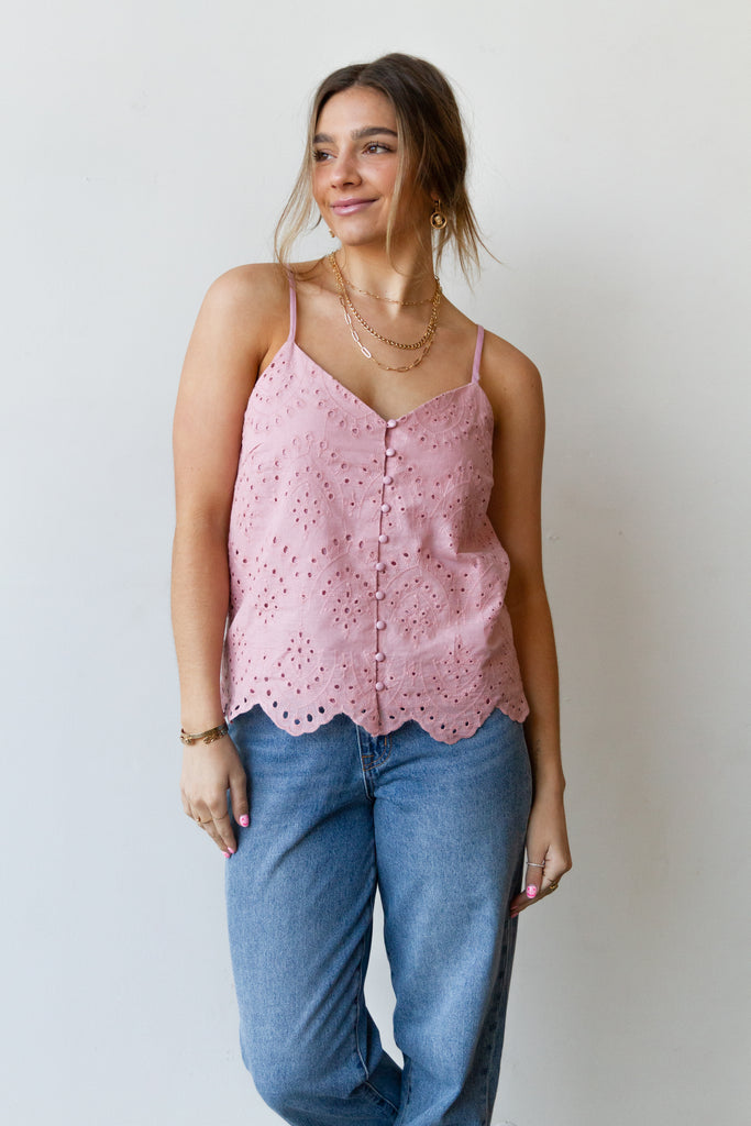 pink lace cami top