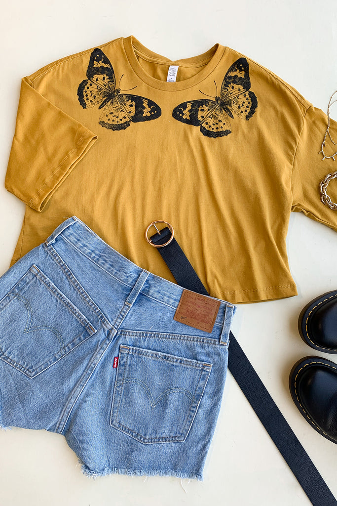 Mustard Butterfly Grahpic Tee