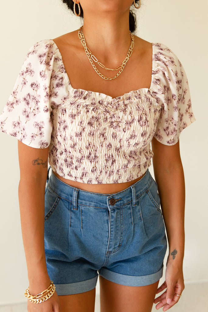 cream/pink smocked crop top with short puff sleeves