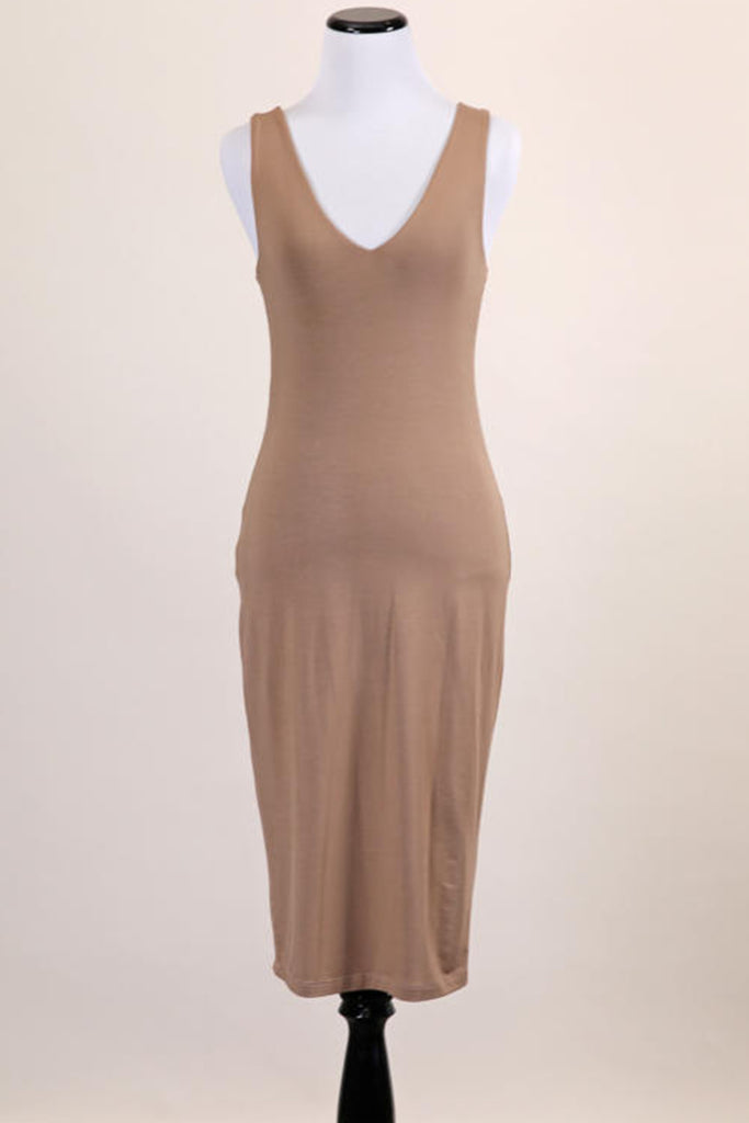 Camel Sleeveless Midi Dress