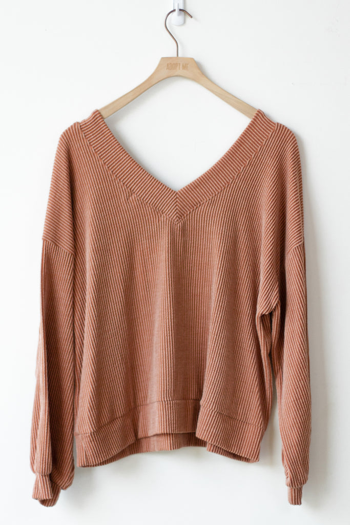 ribbed brown sweater