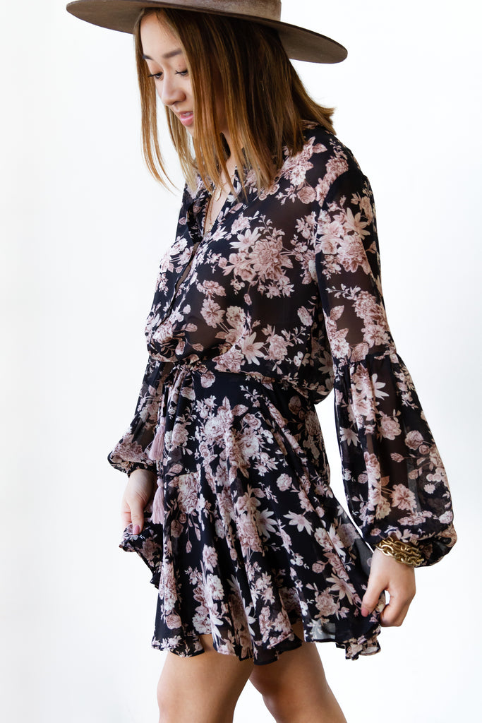 black and pink floral dress