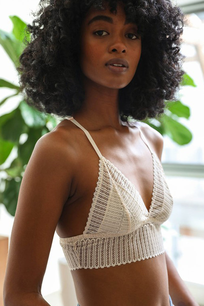 White Ribbed Lace Bralette