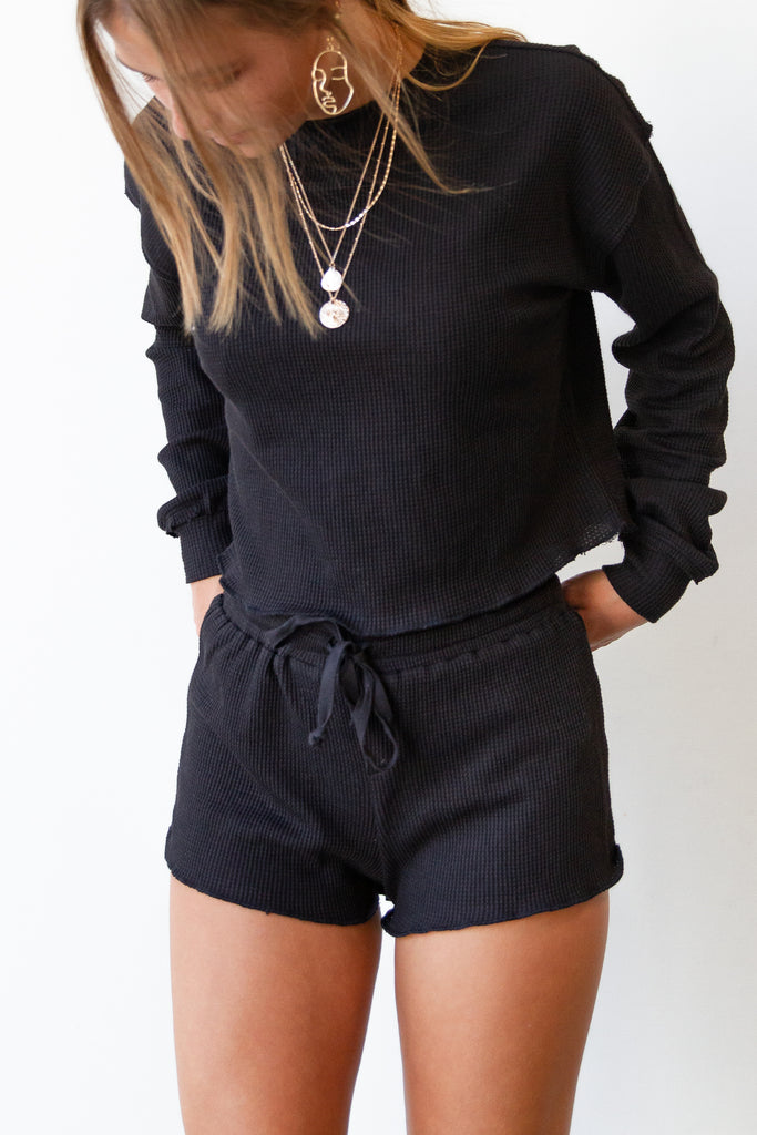 black ribbed shorts
