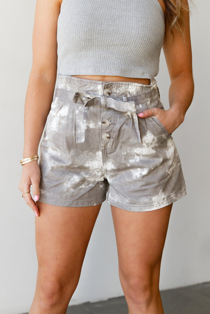 white/grey tie dye shorts