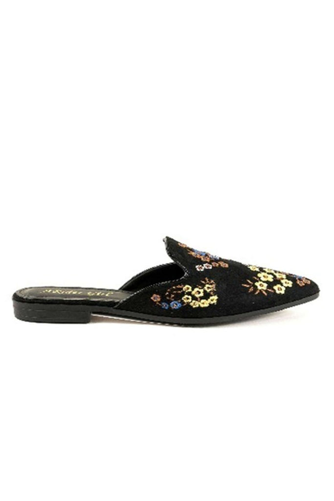 black embroidered flat