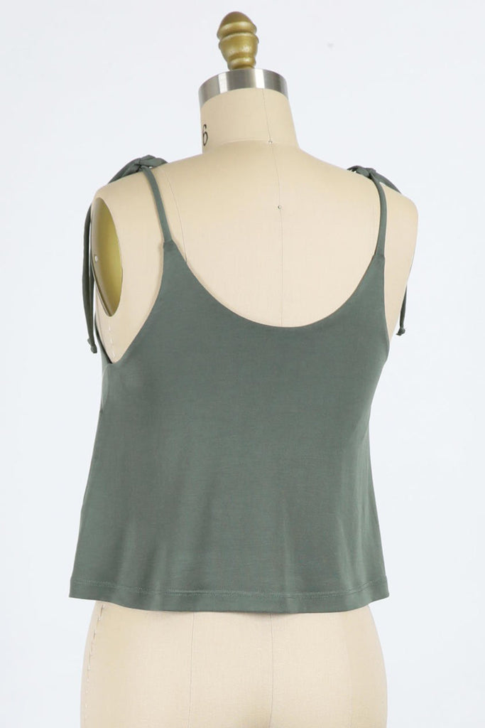 green cami tank with self tie straps