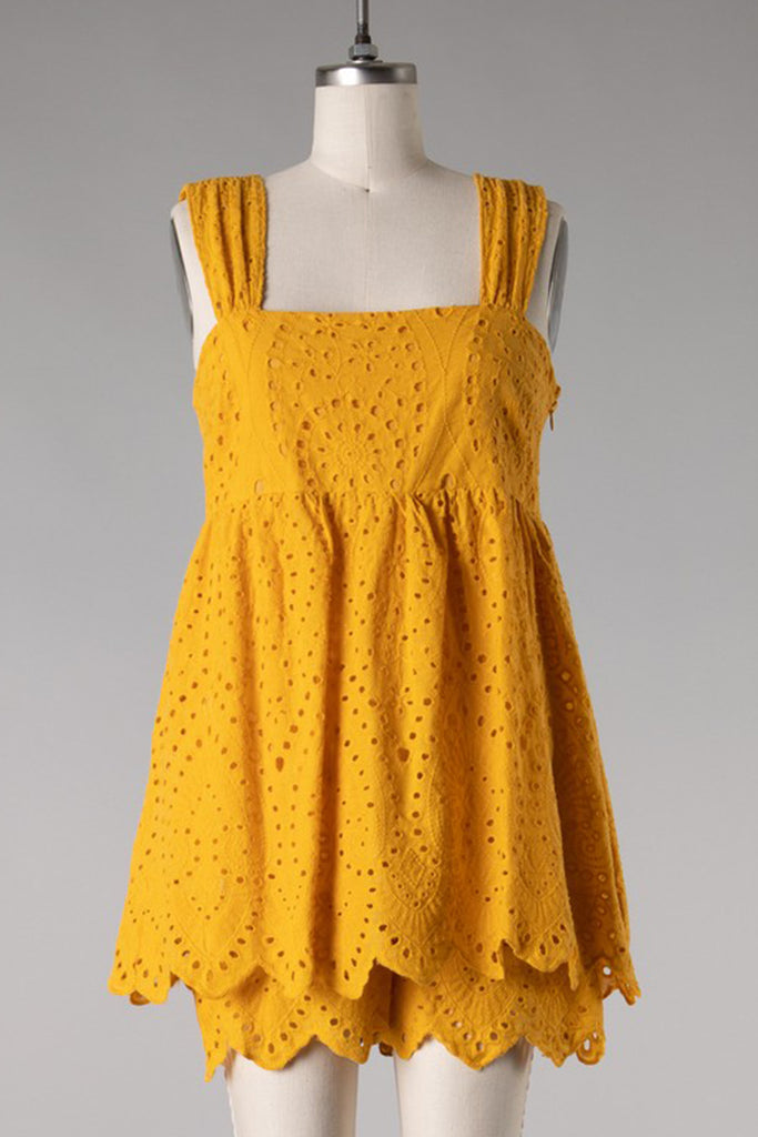 Yellow Eyelet Romper