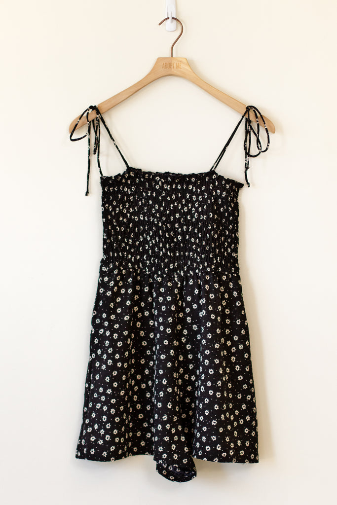 black smocked floral self tie cami romper