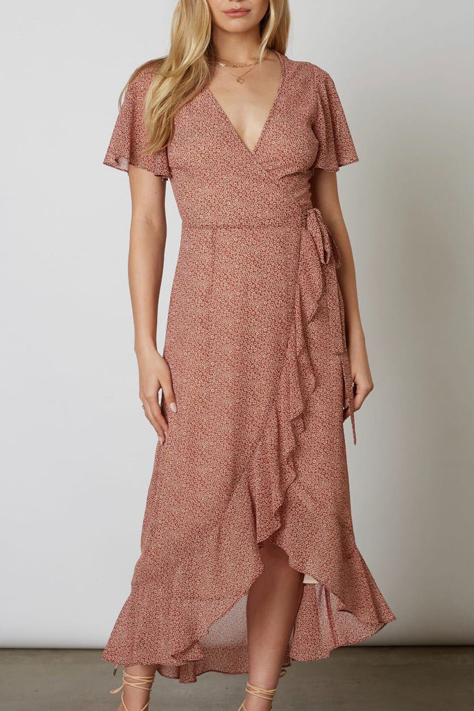 Language of Love Floral Wrap Mid Dress
