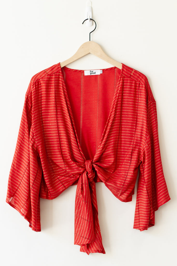 red wrap around top