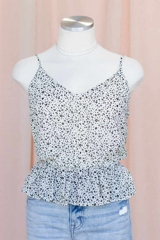 White Animal Print Cami Top