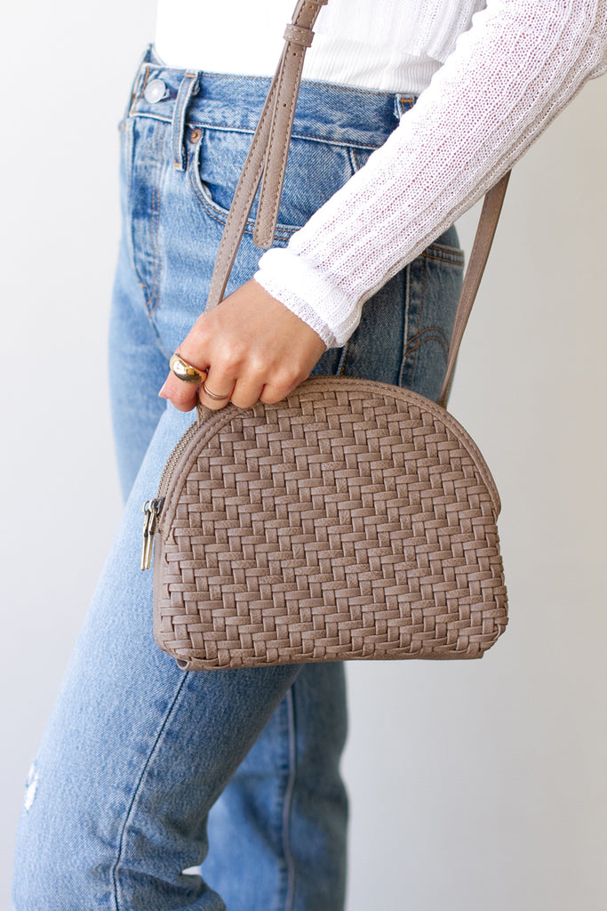 Taupe Woven Faux Leather Purse