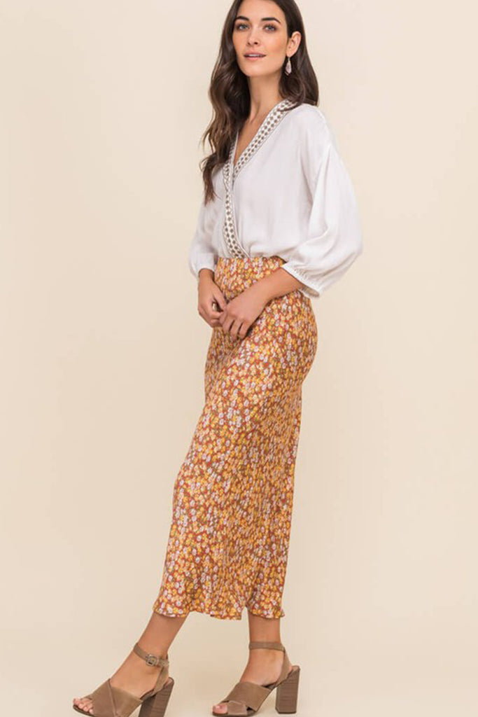 I Warned You Floral Midi Skirt by For Good