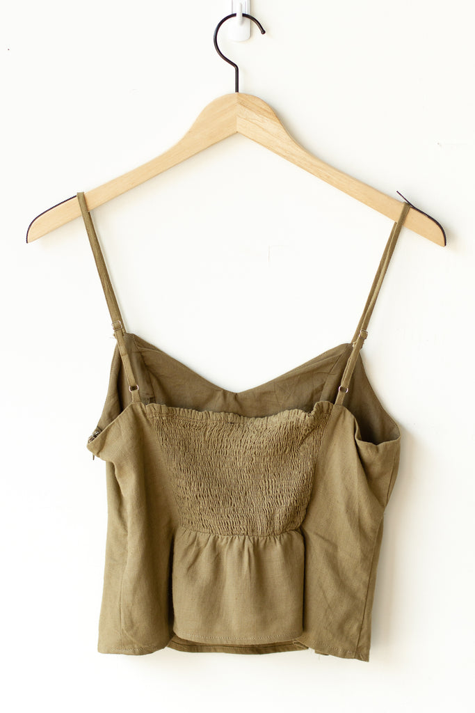 olive green cami crop top