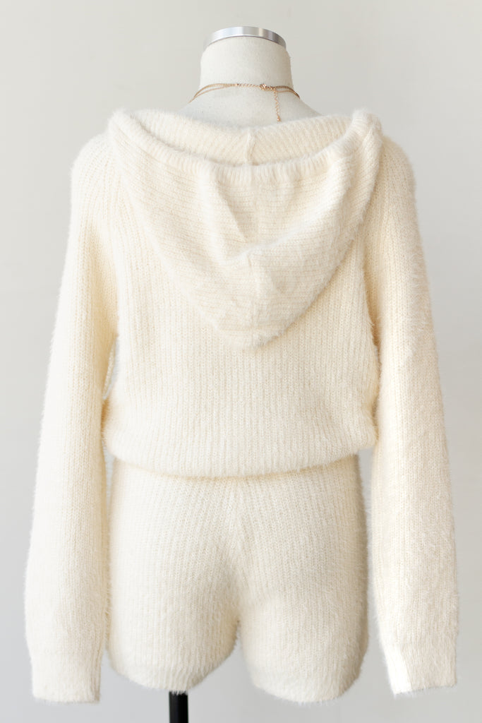 fuzzy cream sweater