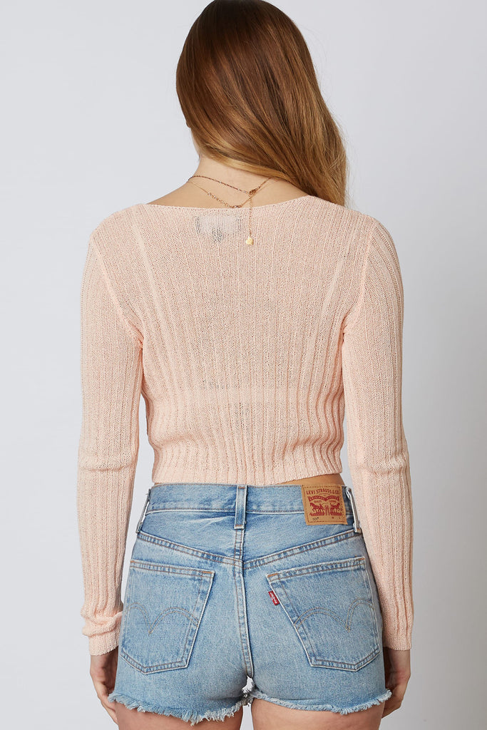 Peach Cropped Cardigan