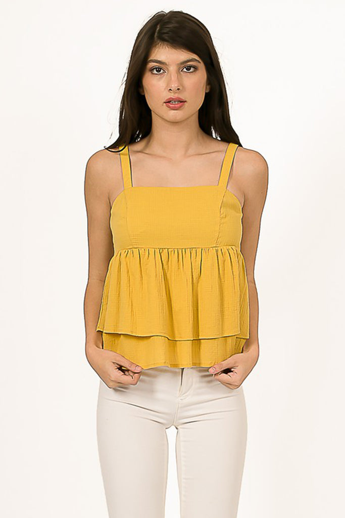 Yellow Ruffle Tankl Top