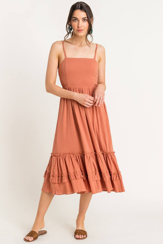 Rust Cami Midi Dress