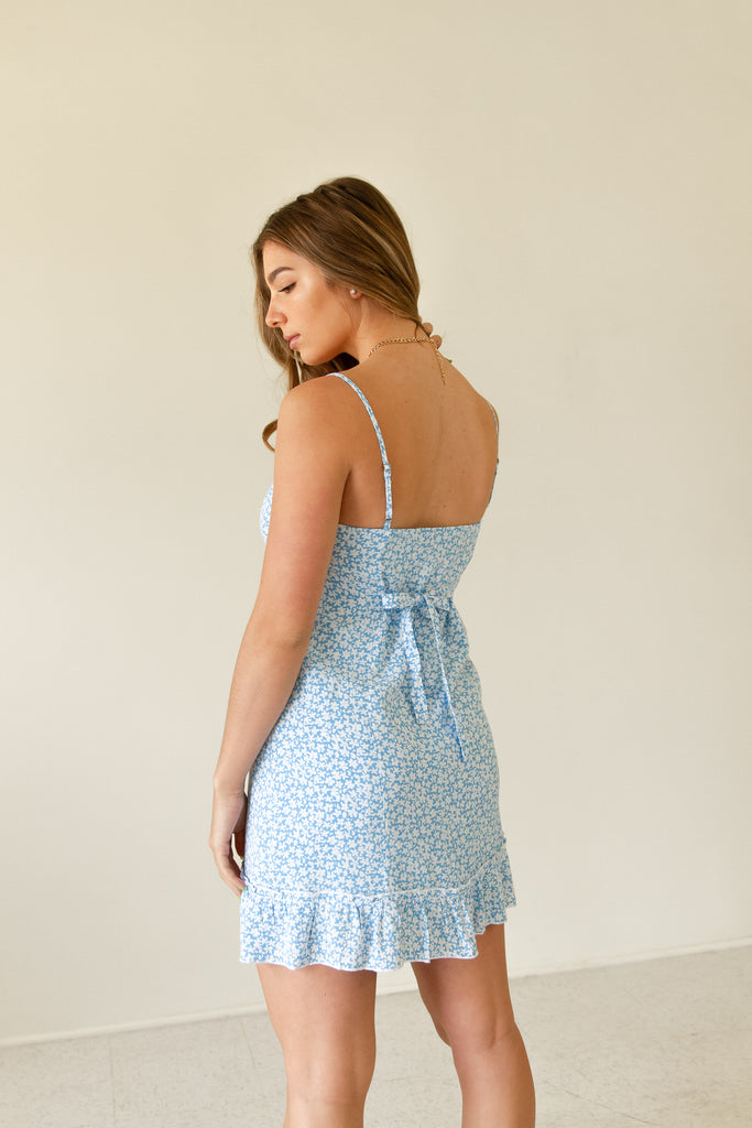 blue floral cami mini dress with ruffle hem