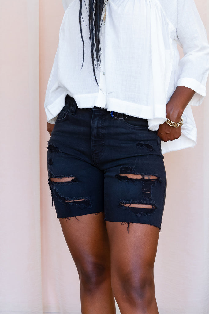 Black Mid Thigh Shorts