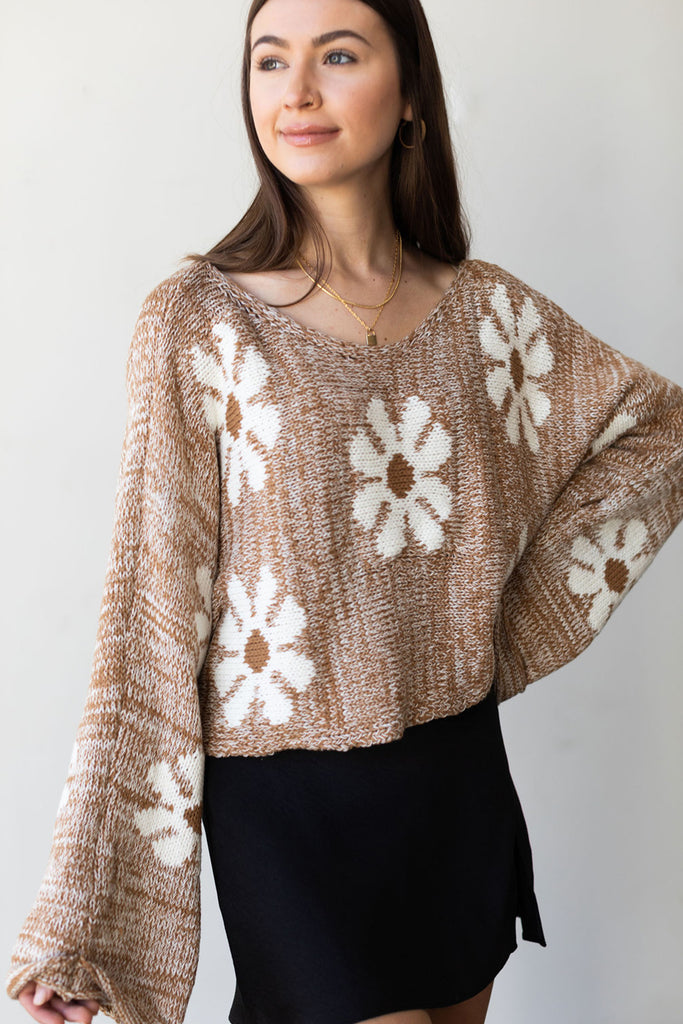 Take Note Floral Sweater By For Good