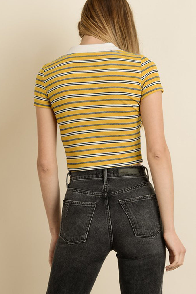 striped polo crop top