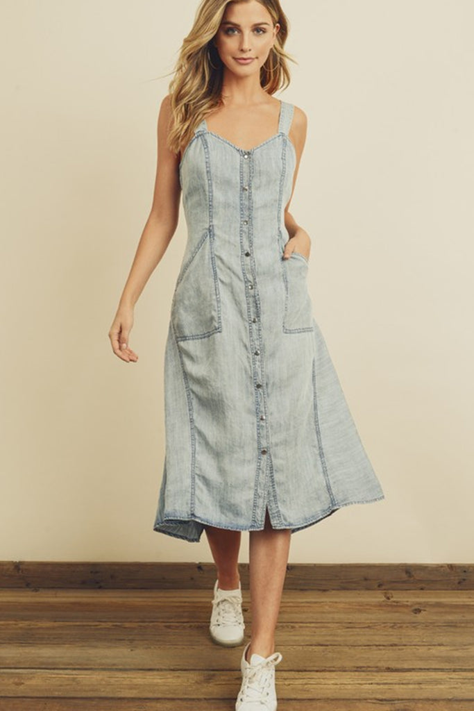 Take A Chance Denim Dress by For Good