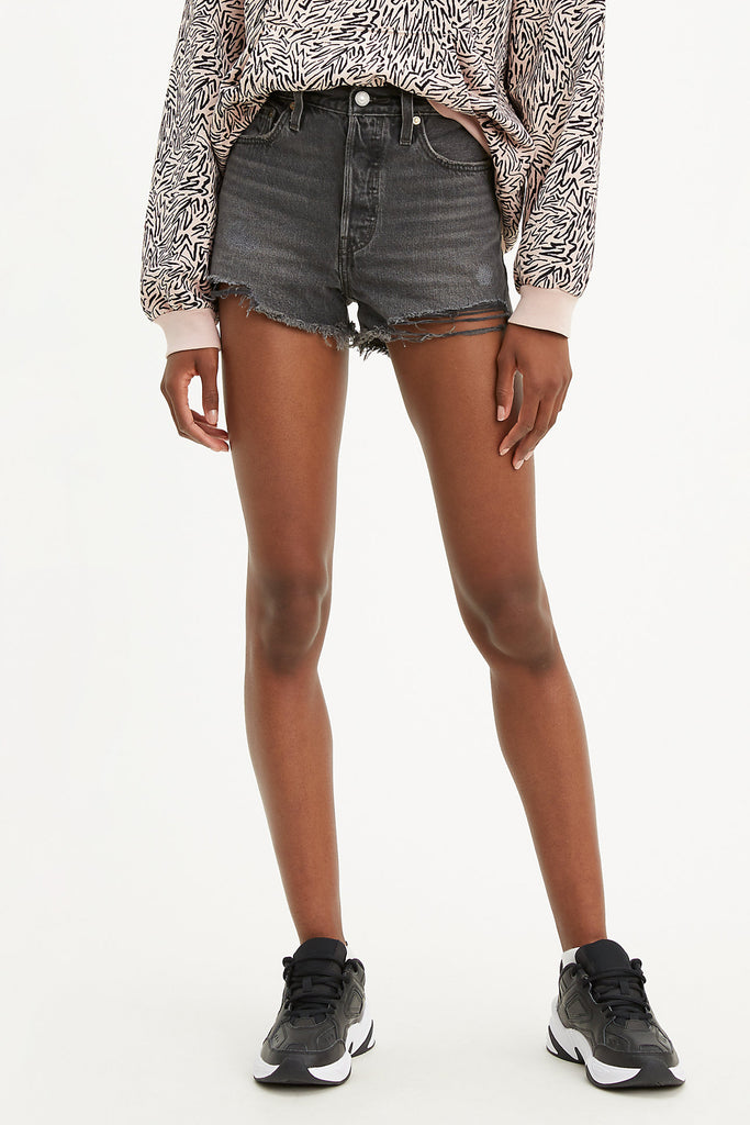 washed black distressed denim levi's shorts