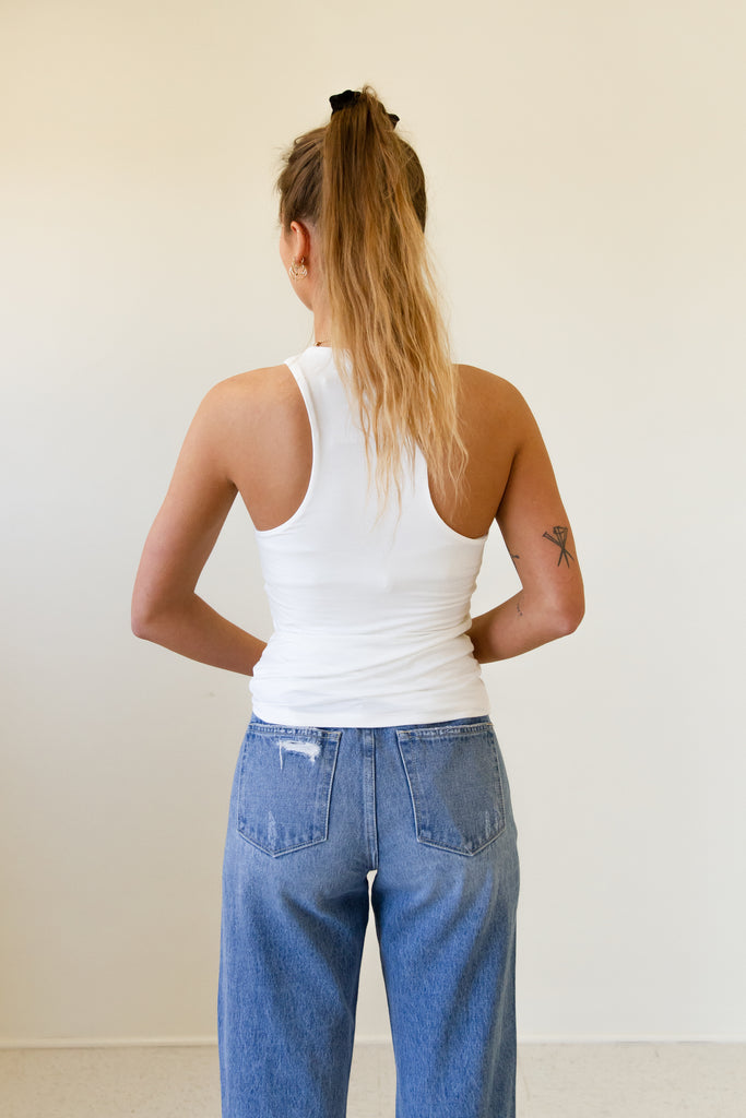 The Lilia Distressed Raw Hem Mom Jeans by Nectar Premium Denim