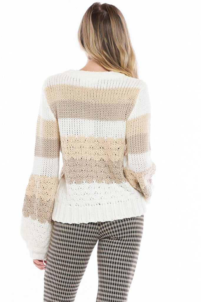 striped cream colored knit pullover