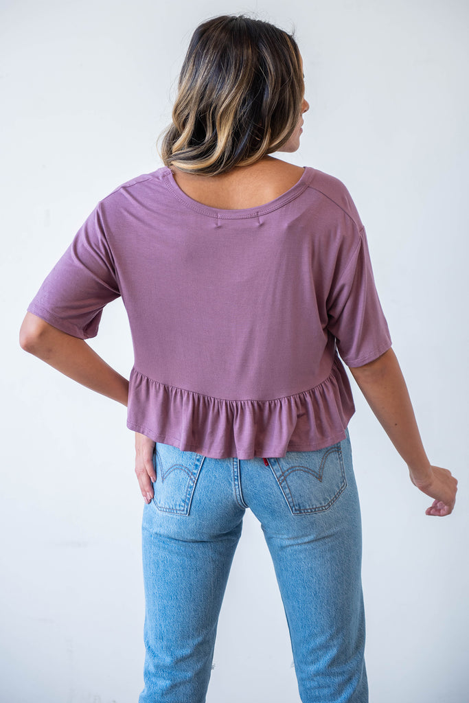 short sleeve ruffled crop top