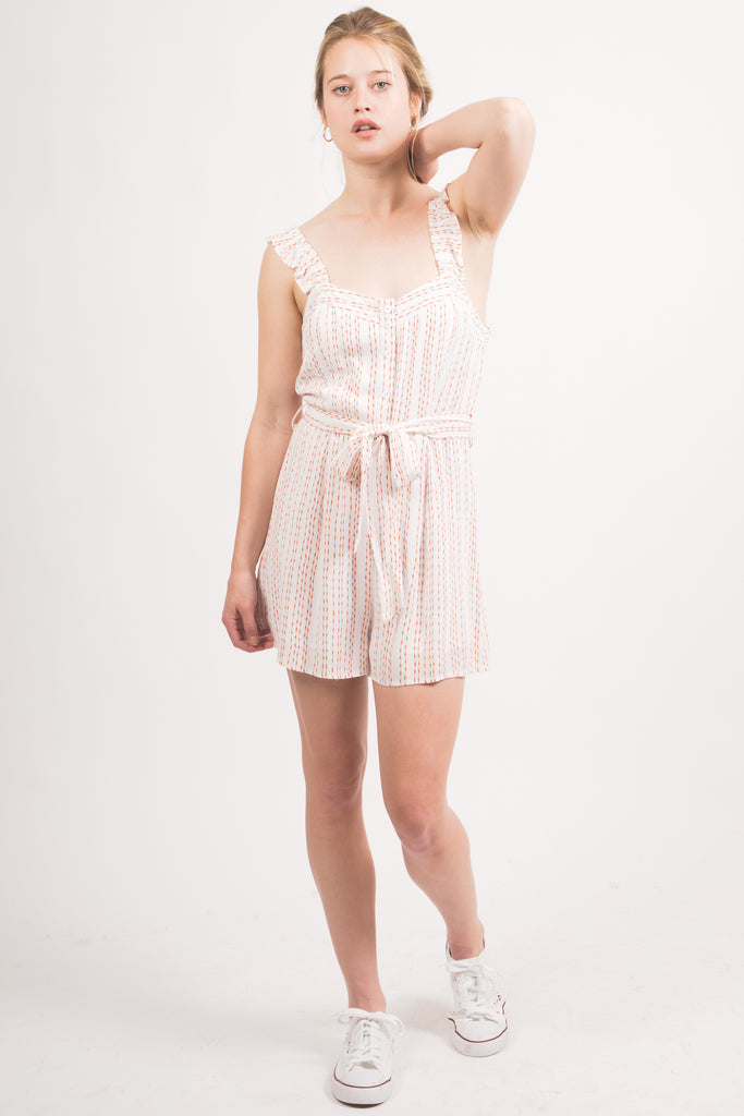 White/Orange Striped Romper
